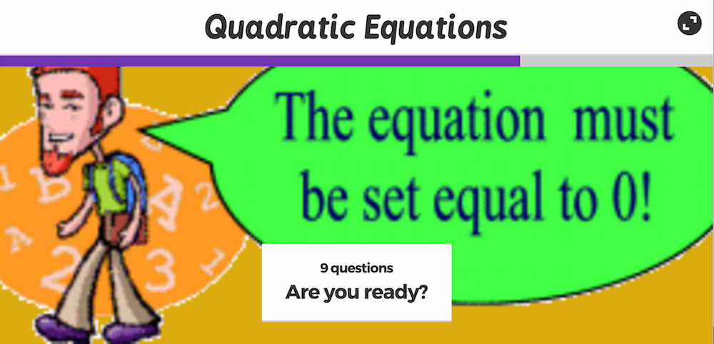 Quadratic Equations Play A Learning Game