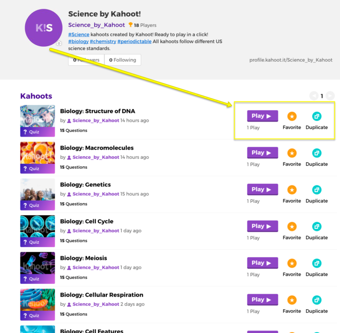 science kahoots landing page exampe image