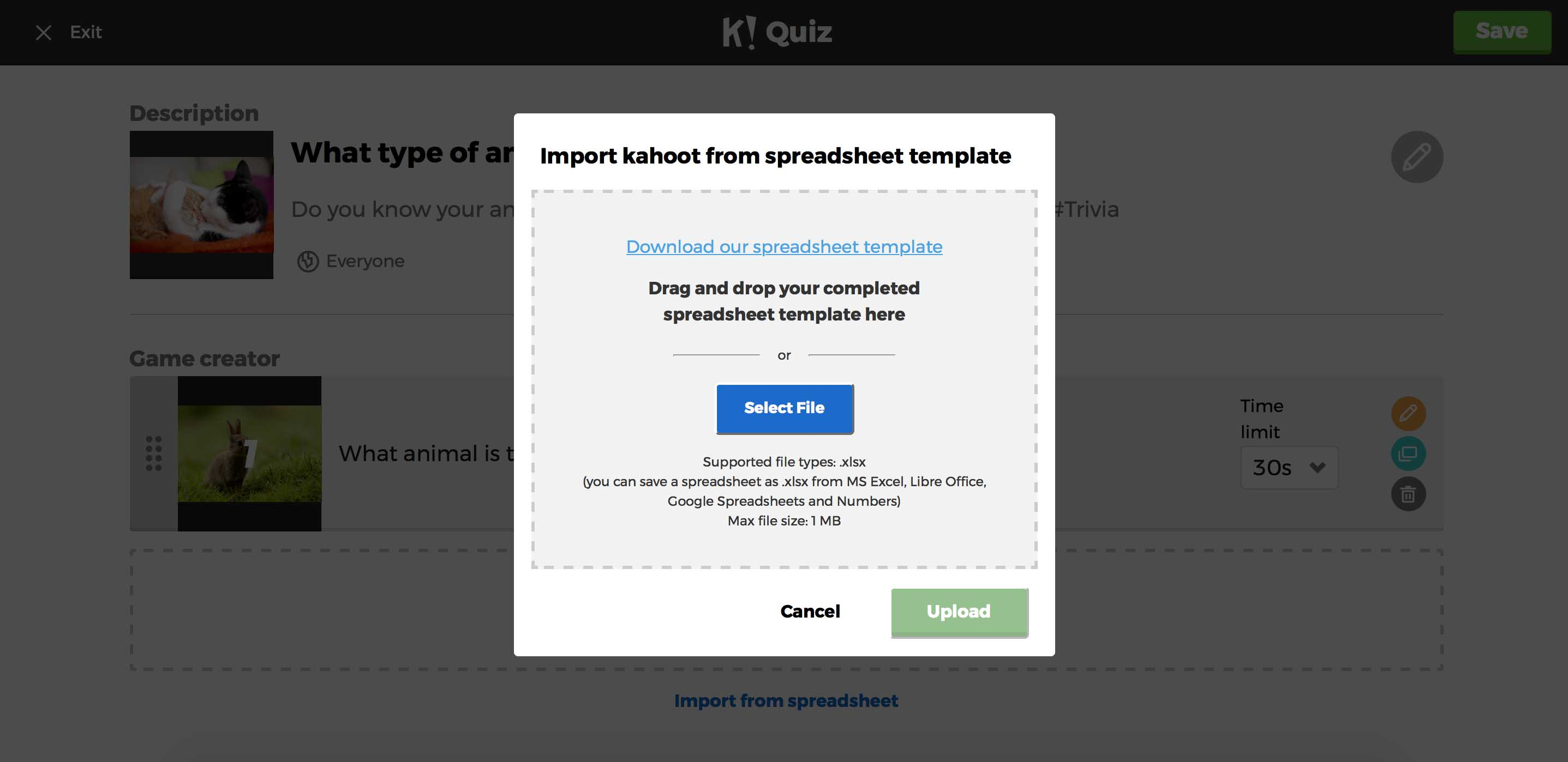 Kahoot! introduces a spreadsheet import function.