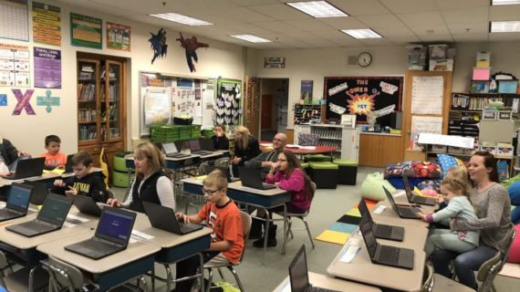 Class working on Chromebooks