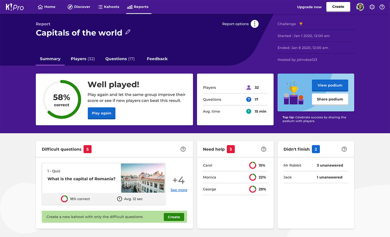 How To Assess Results Of Student Paced Challenges In Kahoot