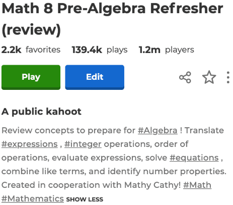 Kahoot title example