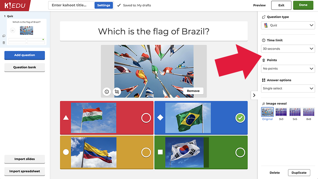 Screenshot of question types in Kahoot!