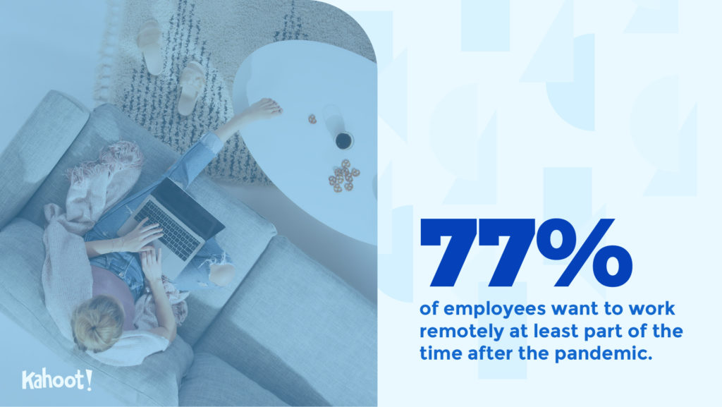 77% of employees want to work remotely at least part of the time after the pandemic